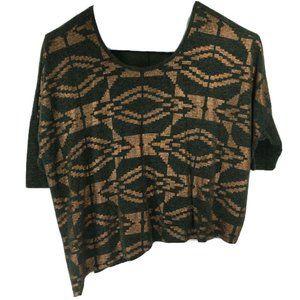 Lane Bryant 22/24 Blouse Green Gold Thin Knit Top